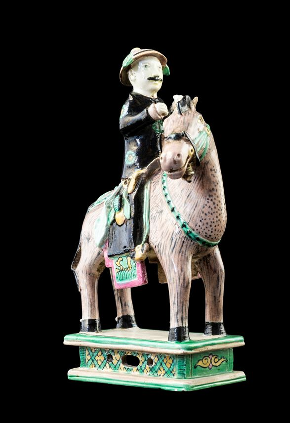 GG: Chinese biscuit porcelain model of a horse and rider | MasterArt